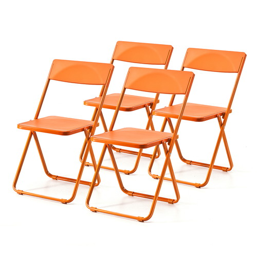 折りたたみ椅子(フォールディングチェア・スタッキング可能・SLIM・4脚セット・オレンジ)