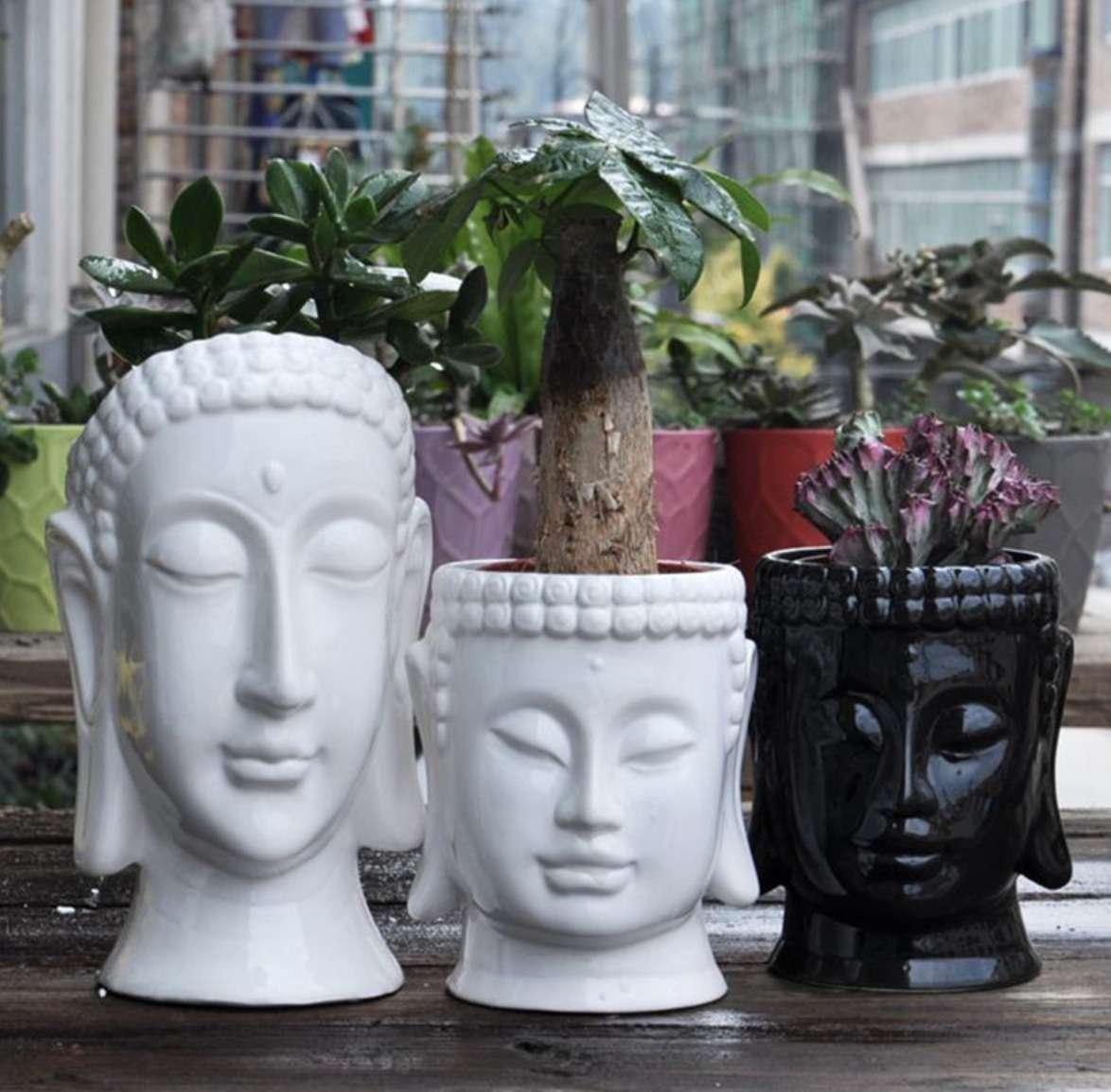 仏像デザイン 正規品送料無料 コンクリート 植木鉢 本日限定 金型机 装飾 プランター 多肉植物 ポットホルダー 13×20 金型