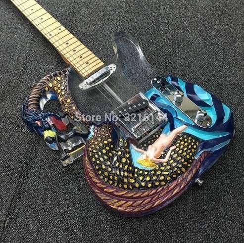 エレキギター 予約 ドラゴンモデリング アクリルクリスタル ブラジルウッド メイプルフレット 本日の目玉 日本非売品 40インチ ノーブランド