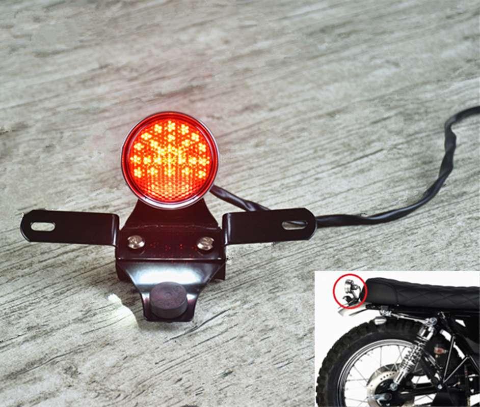 レトロオートバイラウンドCNC 即出荷 引出物 LEDテールランプリアライトライセンスブラケット修正されたカスタム汎用Cafe Ra