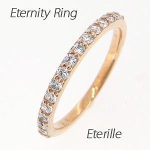 【10%OFF】エタニティリング ダイヤモンド レディース ダイヤ 指輪 ハーフエタニティ スレンダー アーム ゴールド k18 18k 18金 0.3カラット 重ねづけ