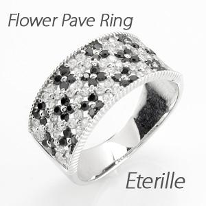 【10%OFF】ブラックダイヤモンド リング 指輪 レディース パヴェ アンティーク ミル打ち フラワー 花 透かし プラチナ 1.0カラット