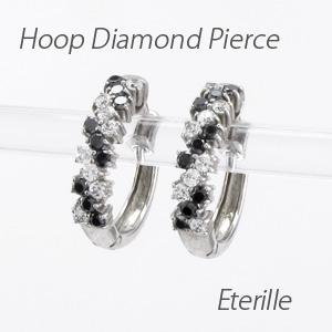 【10%OFF】ブラックダイヤモンド ダイヤモンド フープ ピアス レディース ダイヤ 中折れ プラチナ