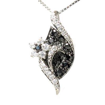 【10%OFF】ブラックダイヤモンド ネックレス ペンダント レディース フラワー 花 0.60 ゴールド k18 18k 18金