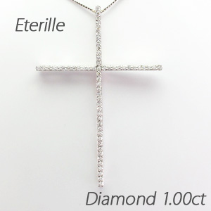 【10%OFF】ネックレス ダイヤモンド ペンダント レディース クロス 十字架 シンプル 大ぶり 1.0カラット ゴールド k18 18k 18金