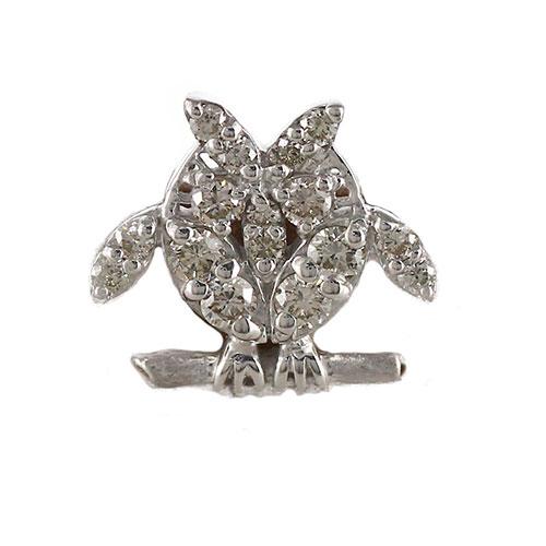 【500円OFFクーポン】ラペルピン メンズ ダイヤモンド フクロウ 梟 アニマル シルバー 925 SV925