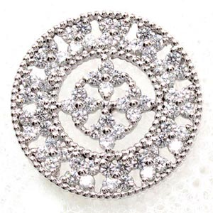 【10%OFF】ラペルピン メンズ ダイヤモンド サークル アンティーク ミル打ち 地金 プラチナ pt900