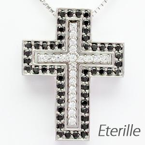 【500円OFF】ブラックダイヤモンド ネックレス メンズ クロス 十字架 プラチナ