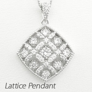 【10%OFF】ダイヤモンド ネックレス 18k ペンダント レディース アンティーク 透かし 格子 重ね スクエア ゴールド k18 18金