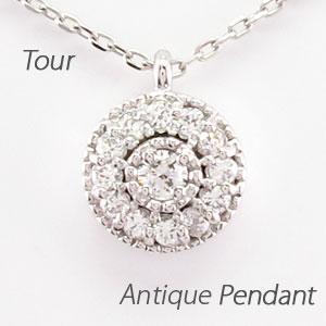 【10%OFF】ダイヤモンド ネックレス ペンダント レディース アンティーク ミル プラチナ pt900