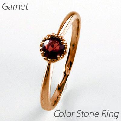 【10%OFF】ガーネット リング 指輪 レディース 1月 誕生石 一粒 カラーストーン ミル打ち アンティーク k18 18k 18金 ゴールド
