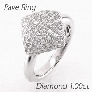 【500円OFFクーポン】ダイヤモンド パヴェ リング 指輪 レディース ひし形 スクエア ゴージャス 1.0カラット プラチナ