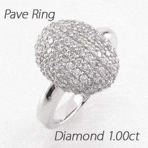 【10%OFF】ダイヤモンド パヴェ リング 指輪 レディース オーバル ラウンド ゴージャス 1.0カラット プラチナ