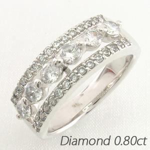 【10%OFF】ダイヤモンド リング 指輪 レディース 透かし ゴージャス プラチナ 0.80
