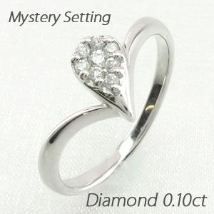 【10%OFF】ダイヤモンド リング 指輪 レディース ドロップ 露 つゆ 雫 しずく ペアシェイプ ミステリー プラチナ 0.1カラット