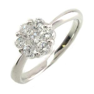 【10%OFF】ダイヤモンド リング 指輪 レディース フラワー ミステリー 花 ゴージャス プラチナ 0.5カラット