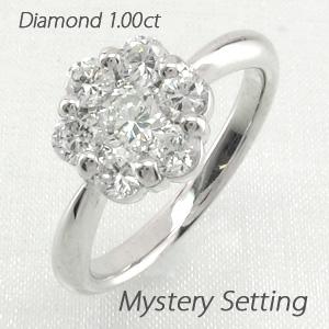 【10%OFF】ダイヤモンド リング 指輪 レディース フラワー ミステリー 花 ゴージャス プラチナ 1.0カラット