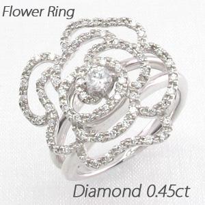 【10%OFF】ダイヤモンド リング 指輪 レディース バラ 薔薇 ローズ フラワー 花 ゴージャス プラチナ
