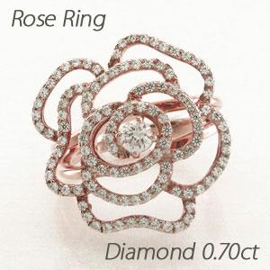 【500円OFFクーポン】ダイヤモンド リング 指輪 レディース ローズ 薔薇 バラ フラワー k18 18k 18金 ゴールド 0.7カラット