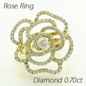 【10%OFF】ダイヤモンド リング 指輪 レディース ローズ 薔薇 バラ フラワー k18 18k 18金 ゴールド 0.7カラット