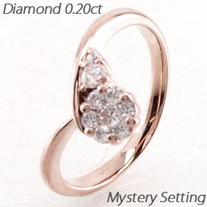 【10%OFF】ダイヤモンド リング 指輪 レディース V字 Vライン カーブ ミステリー k18 18k 18金 ゴールド 0.2カラット