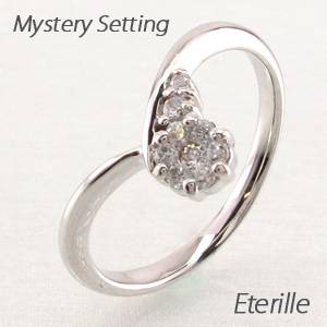 【10%OFF】ダイヤモンド リング 指輪 レディース V字 Vライン カーブ ミステリー プラチナ