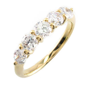 【10%OFF】ダイヤ エタニティ リング レディース ダイヤモンド 指輪 ハーフエタニティ 豪華 5石 ゴールド k18 18k 18金 1.0カラット