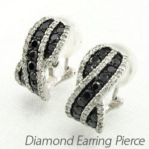 【10%OFF】ブラックダイヤモンド イヤリング ピアス レディース パヴェ ゴージャス カーブ プラチナ pt900
