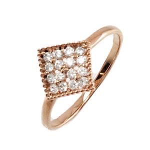 【10%OFF】ダイヤモンド パヴェ リング 指輪 レディース フラワー 花 アンティーク ミル打ち 透かし k18 18k 18金 ゴールド