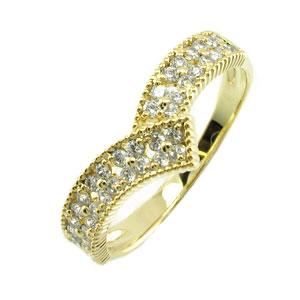 ダイヤモンド パヴェ リング 指輪 レディース V字 Vライン アンティーク ミル打ち フラワー 花 透かしk18 18k 18金 ゴールド