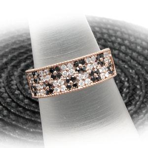 ブラックダイヤモンド リング 指輪 レディース パヴェ アンティーク ミル打ち フラワー 花 透かしk18 18k 18金 ゴールドWDY29eIEHb