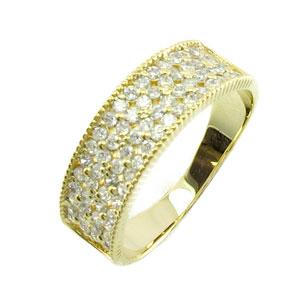 【10%OFF】ダイヤモンド パヴェ リング 指輪 レディース アンティーク ミル打ち フラワー 花 透かしk18 18k 18金 ゴールド