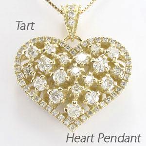 【10%OFF】ハート ネックレス ダイヤ ペンダント レディース ダイヤモンド アンティーク ゴージャス 透かし 重ね ゴールド k18 18k 18金