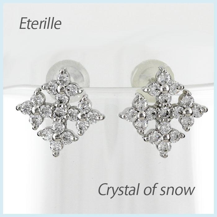 【10%OFF】ピアス ダイヤモンド ダイヤピアス プラチナ pt900 雪 結晶 スノー スノークリスタル