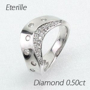 【10%OFF】ダイヤモンド パヴェ リング 指輪 レディース 地金 彫り留め カーブ ウェーブ プラチナ 0.5カラット