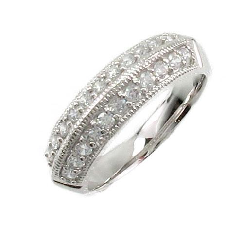 【10%OFF】エタニティリング プラチナ ダイヤモンド ダイヤ レディース 指輪 アンティーク ミル打ち 0.5カラット