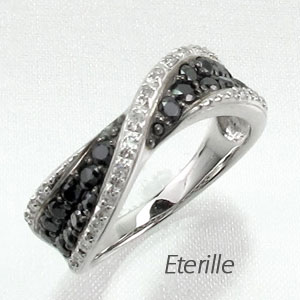 【10%OFF】ブラックダイヤモンド リング 指輪 レディース パヴェ カーブ ウェーブ ゴージャス k18 18k 18金 ゴールド