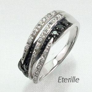 【10%OFF】ブラックダイヤモンド リング 指輪 レディース 透かし カーブ ゴージャス プラチナ