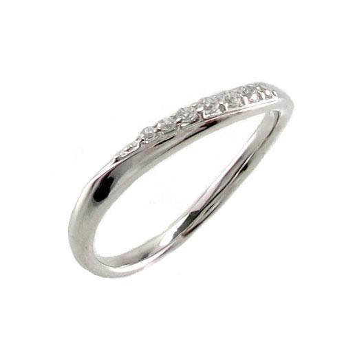 【10%OFF】ピンキーリング ダイヤモンド ダイヤ k18 18k レディース 指輪 ピンキー シンプル カーブ ウェーブ 18金 ゴールド