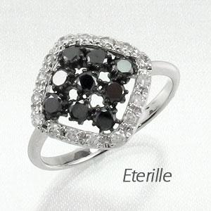 【10%OFF】ブラックダイヤモンド リング 指輪 レディース スクエア ゴージャス k18 18k 18金 ゴールド