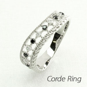 【10%OFF】ブラックダイヤモンド リング 指輪 レディース アンティーク ミル打ち 透かし プラチナ なわ 縄網様