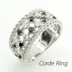 【10%OFF】ブラックダイヤモンド リング 指輪 レディース アンティーク ミル打ち 透かし ゴージャス プラチナ なわ 縄網様 1.0カラット