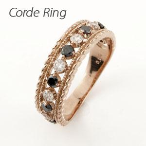 【10%OFF】ブラックダイヤモンド リング 指輪 レディース アンティーク ミル打ち 透かし k18 18k 18金 ゴールド なわ 縄網様 0.5カラット