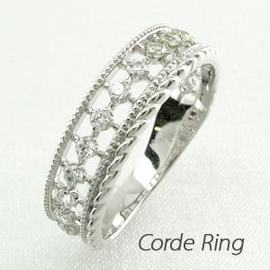 【10%OFF】リング ダイヤモンド 指輪 レディース アンティーク ミル打ち 透かし k18 18k 18金 ゴールド なわ 縄網様 0.2カラット