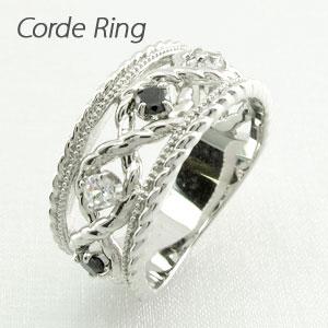 【10%OFF】ブラックダイヤモンド リング 指輪 レディース アンティーク ミル打ち 透かし プラチナ なわ 縄網様 ゴージャス 0.3カラット