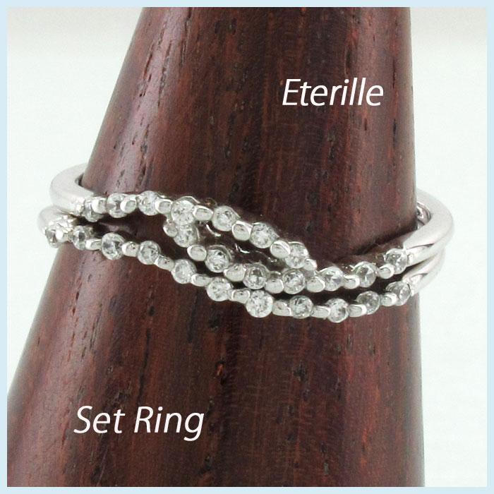 【10%OFF】ダイヤモンド リング 指輪 レディース カーブ スレンダー シンプル 2本 セット プラチナ 0.2カラット