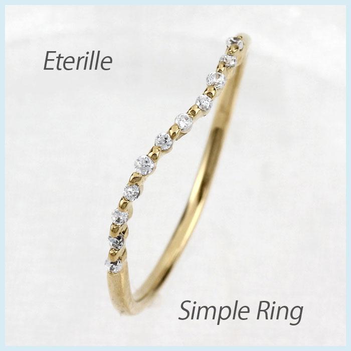 【10%OFF】ダイヤモンド リング 指輪 レディース カーブ スレンダー シンプル k18 18k 18金 ゴールド