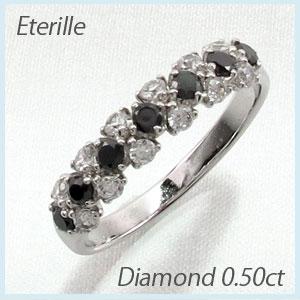 ブラックダイヤモンド リング 指輪 レディース パヴェ プラチナ 0.5カラット