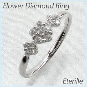 【10%OFF】リング プラチナ ダイヤモンド 指輪 レディース フラワー モチーフ 花 プラチナ 0.3カラット