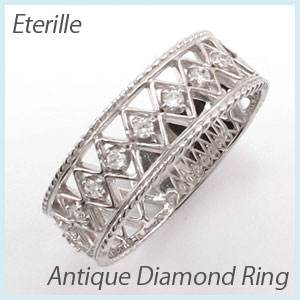 【500円OFF】リング プラチナ ダイヤモンド 指輪 レディース アンティーク 透かし レース 縄 なわ プラチナ
